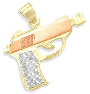 14k Yellow White n Rose Gold Machine Gun Pendant Charm