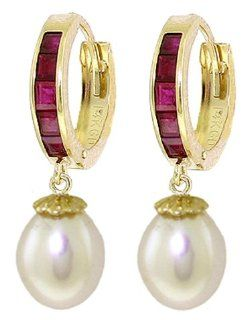 14k Solid Gold Ruby Earrings with Pearls Jewelry