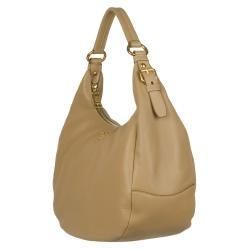 Prada Vitello Daino Beige Leather Hobo Bag