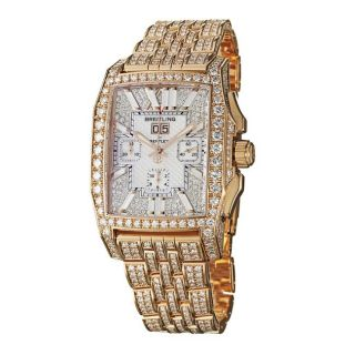 Breitling Mens Flying B Chronograph 18k Rose Gold Diamond Watch