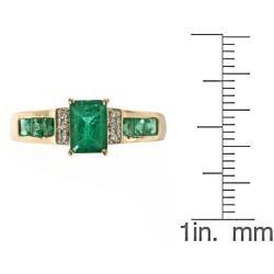 Yach 10k Yellow Gold Zambian Emerald and Diamond Accent Ring