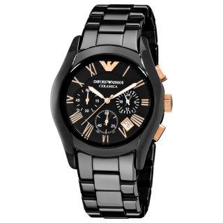 Emporio Armani Mens Ceramic Black Chronograph Dial Quartz Watch
