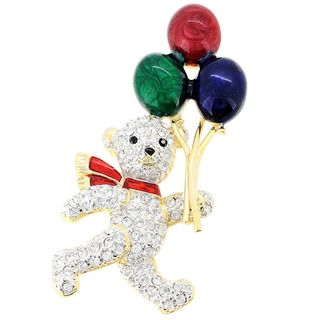 Goldtone Crystal Teddy Bear and Balloon Brooch