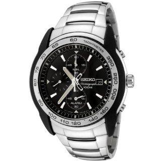 Seiko Mens SNAB95 Chronograph Black Dial Stainless Steel Alarm Watch
