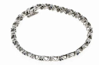 14kt White Gold 1/6 ct Diamond and Sapphire XO Bracelet