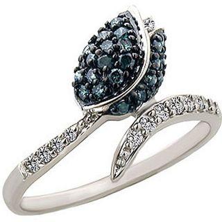14k Gold 2/5ct TDW Blue/ White Diamond Tulip Ring (I J, I2) (Size 7