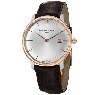 Frederique Constant Mens Slim Line Silver Dial Two Tone Watch