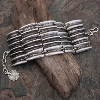 Silverplated Pewter Large Deep Ridges Link Bracelet (Turkey