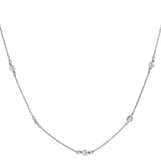 Silvertone Cubic Zirconia and Faux Pearl Necklace Today $21.49
