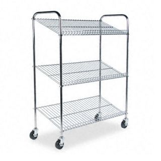 Mayline Three Shelf Wire Tote Cart for Mail Totes