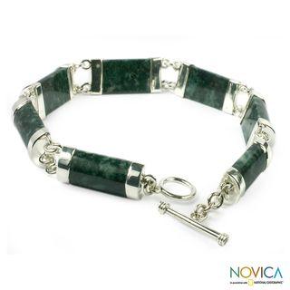 Sterling Silver Sweet Maya Jade Bracelet (Guatemala)