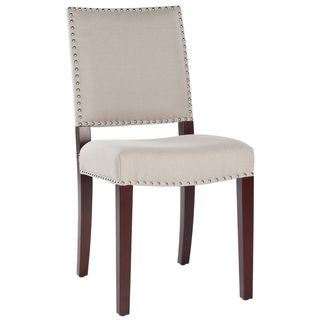 Broadway Tan Linen Nailhead Side Chair