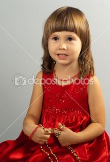 Cute little girl in a red dress  Stock Photo © Viktoria Savostianova