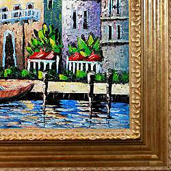 Famous Cities Waterway of Venice w/ Vienna Gold Leaf Finish Wood Frame