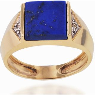 Michael Valitutti 10k Gold Lapis and Diamond Ring (size 10