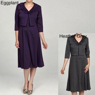 Julian Taylor Womens 2 pc Solid Ponte Jacket Dress