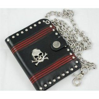 Mens Black Leather Wallet with Skull with Chain WA86