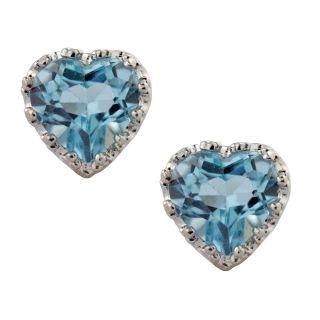 Sterling Silver Blue Topaz Heart Earrings