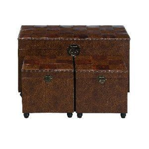 Set of Three Checkered Lid Decorative Storage Trunks Home