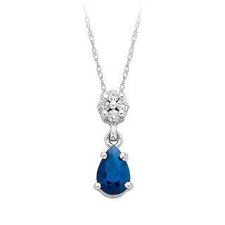 Sapphire and Diamond Fashion Pendant in 14K White Gold