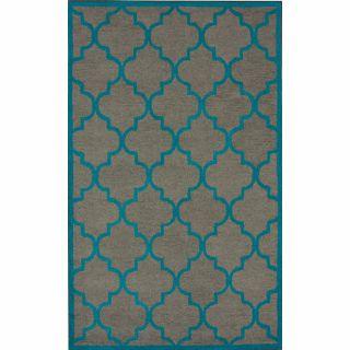 Handmade Luna Moroccan Trellis Grey Wool Rug (76 x 96)