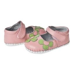 Little Blue Lamb Hand stitched Pink/ Green Leather Infant/ Toddler