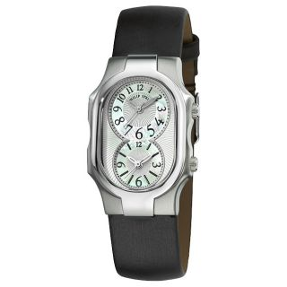 Philip Stein Womens Signature Black Strap Dual Time Watch MSRP $