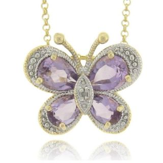 18k Gold over Silver Amethyst and Diamond Accent Butterfly Necklace