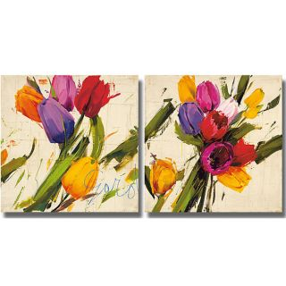 Antonio Massa Garden & Bouquet  2 piece Unframed Canvas Art Set