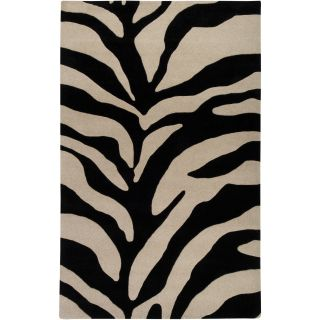 Hand tufted Black/White Zebra Animal Print Guildford Wool Rug (5 x 8