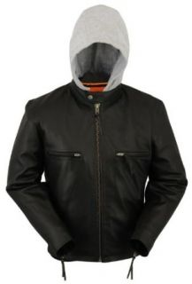 First MFG Mens Leather Jacket With Removable Hoodie