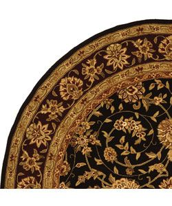 Handmade Isfahan Black/ Burgundy Wool and Silk Rug (8 Round