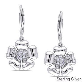 Miadora Silver 1/10ct TDW Diamond Floral Earrings