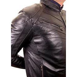 Knoles & Carter Mens Ribbed Trim Leather Motorcycle Racer Jacket