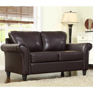 ETHAN HOME Petrie Dark Brown Faux Leather Rolled Arm Loveseat