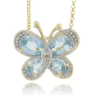18k Gold Over Silver Blue Topaz and Diamond Accent Butterfly Necklace