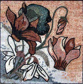24x24 Flower Mosaic Art Tile Mural Wall Decor Patio