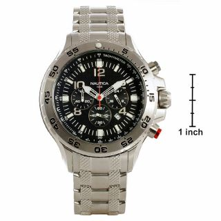 Nautica Mens Chrono Black Dial Steel Watch