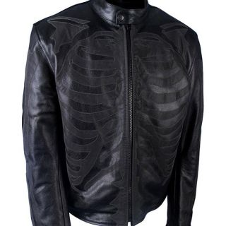 Leather Mens Reflective Skeleton Inlay Motorcycle Jacket