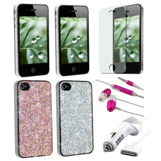 Glitter Case/ Screen Protector/ Charger/ Headset for Apple iPhone 4