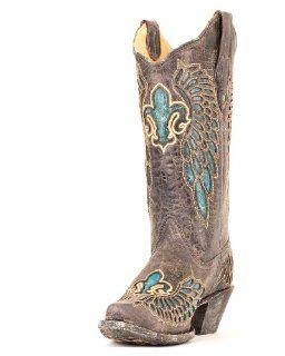 Womens Distressed Black/Turquoise Fleur de Lis Boot   R2337 Shoes