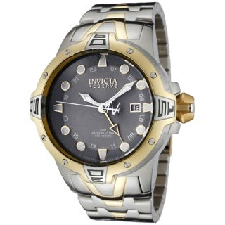 Invicta Mens Reserve Light Grey Dial Two Tone GMT Watch