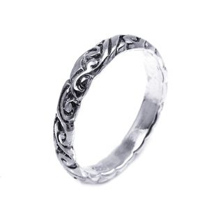 Sterling Silver Everyday Filigree Swirl Band Ring (Thailand