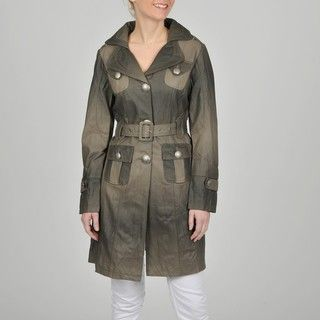 Montanaco Womens Faux Leather 3/4 length Belted Trench Coat