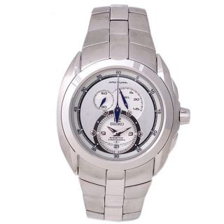 Seiko Mens Kinetic Arctura Chronograph Silver Dial Steel Watch