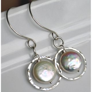 Silver and White Pearl Circle Dangle Earrings Today $35.99