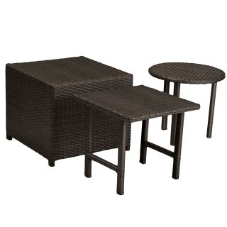 Christopher Knight Home Palmilla Dark Grey Wicker Table Set (Set of 3