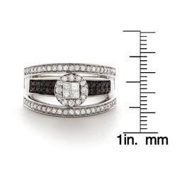 14k Gold 1ct TDW Black and White Diamond Engagement Ring (I J, I2 I3