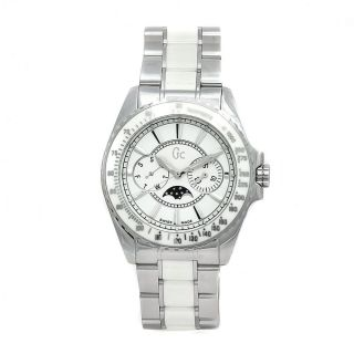 Guess Collection Unisex Ceramic White Moonphase Swiss Quartz Watch