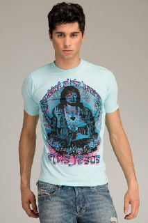 Elvis Jesus  Buddha Blue T shirt for men